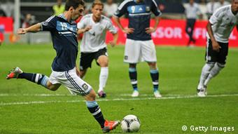 Lionel Messi of Argetina misses a penalty during the international friendly match between Germany and Argentina