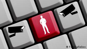 A keyboard with images symbolizing online surveillance (Copyright: kebox / Fotolia)