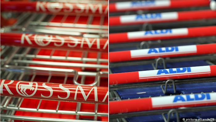 Rossmann and Aldi shopping carts side by side