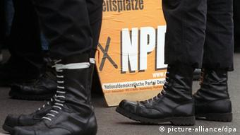 Pictured here, the black boots of extreme right-wing NPD supporters in Germany.