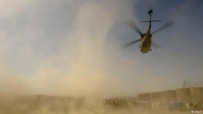 A military transport Black Hawk Hellicopter flying in Paktika province in Afghanistan (09.09.11) .