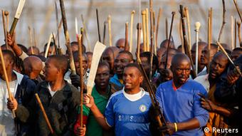 Striking miners chant slogans outside a South African mine in Rustenburg, Picture: Siphiwe Sibeko/Reuters
