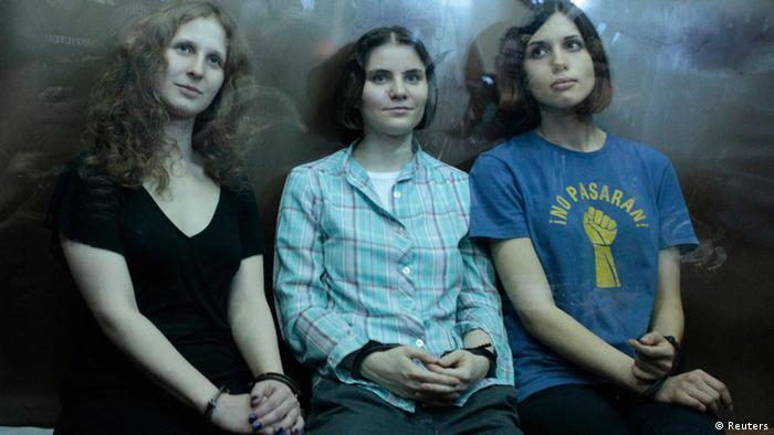 Nadezhda Tolokonnikova, Yekaterina Samutsevich and Maria Alyokhina (Photo: Reuters/Maxim Shemetov)