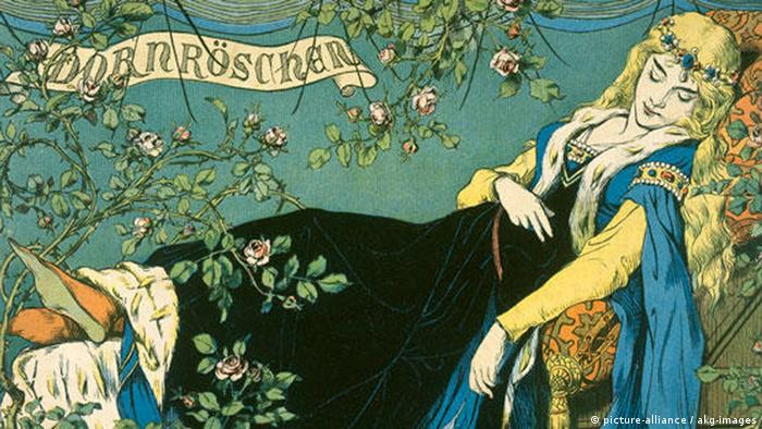 Color lithograph of Sleeping Beauty from 1879