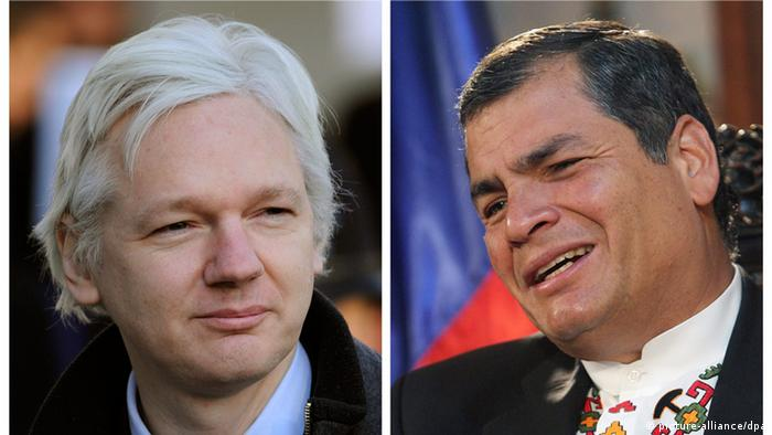 epa03361731 (FILES) A composite file photo of Wikileaks founder Julian Assange taken on 2 February 2012 (left) and Ecuador's President Rafael Correa (R) in Cochabamba, Bolivia, 04 June 2012. The latin country's president said in a tv interview late 13 August that he has yet to make a decision on the plight of Assange, seeking asylum to the country, but hopes to have an answer by Wednesday (15th August) Assange has been taking refuge at the embassy since Juner 19th to avoid extradition to Sweden. EPA/MARTIN ALIPAZ +++(c) dpa - Bildfunk+++