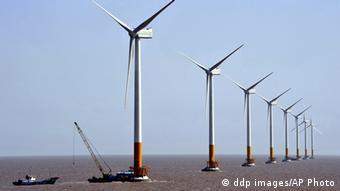 Морской ветропарк вблизи Шанхая