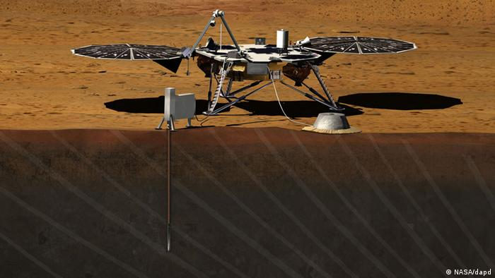 This image provided by NASA shows an artist rendition of the proposed InSight (Interior exploration using Seismic Investigations, Geodesy and Heat Transport) Lander. After driving all around Mars with four rovers, NASA wants to look deep into the guts of the red planet. The space agency decided Monday, Aug. 20, 2012, to launch a relatively low-cost robotic lander in 2016 to check out what makes the Martian core so different from Earth's.