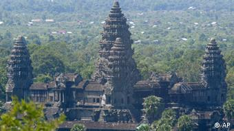 An overview of Angkor Wat temple tower, in Siem Reap province, the Cambodian main tourist destination in northwest of Phnom Penh, Cambodia