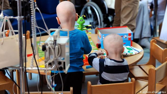 Thee young cancer patients in a hospital in Munich
