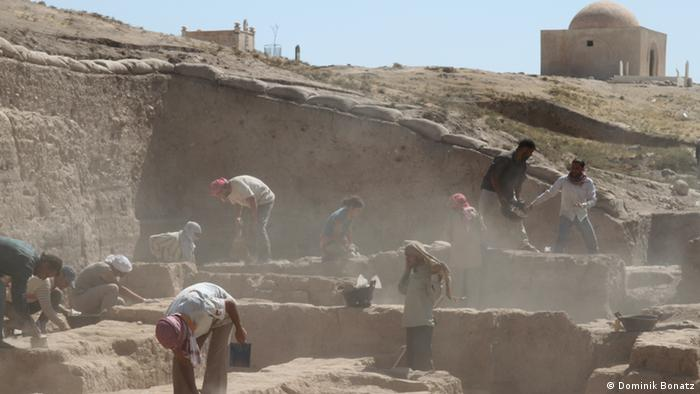 Archaeological excavation site at Tell el Fakhariya in northern Syria