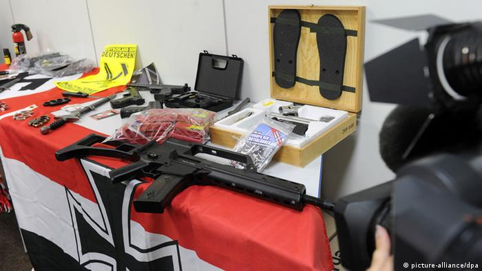 Confiscated material included a number of fire arms