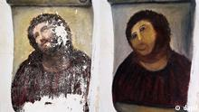 This combination of two undated handout photos made available by the Centro de estudios Borjanos shows the 20th century Ecce Homo-style fresco of Christ before (left) and after (right) an elderly amateur artist Celia Gimenez, 80, took it upon herself to restore it in the church of the northern Spanish agricultural town of Borja. The incident made national news and was an Internet trending topic Thursday Aug 23 2012 with some Twitter users dubbing it ?Ecce Mono?, meaning ?Behold the Monkey? instead of ?Behold Man.? (Foto:Centro de estudios Borjanos/AP/dapd)