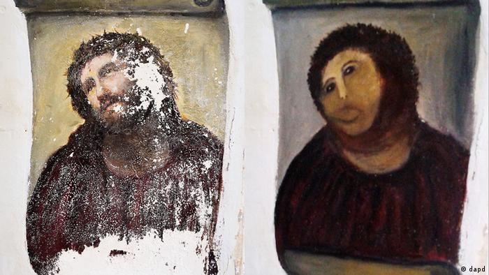 The Ecce Homo fresco, before and after amateur artist Cecilia Gimenez ruined it