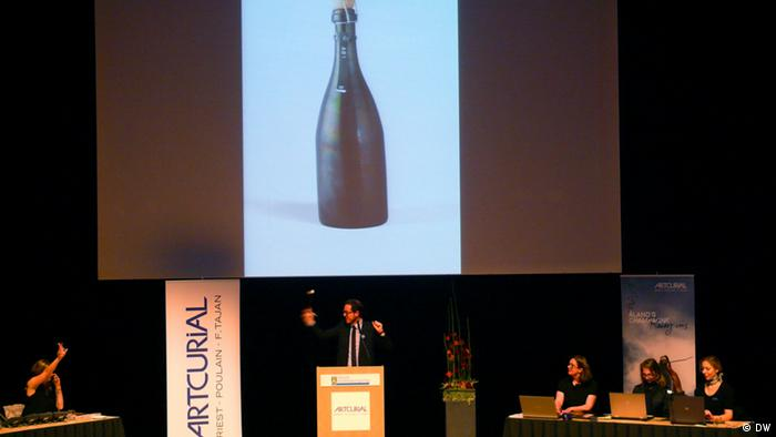 Auction of some of the bottles of the world's oldest champagne, discovered in Aland, Finland