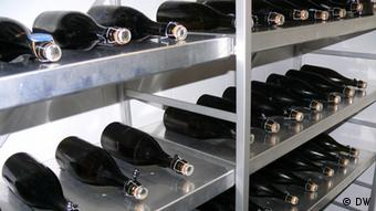 A photograph of part of a haul of the world's oldest drinkable champagne found close to Aland in the Baltic Sea, seen here in a refrigeration unit