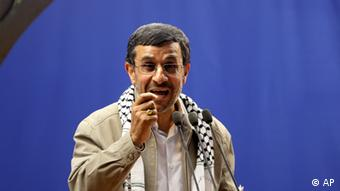 Iranian President Mahmoud Ahmadinejad speaks at the conclusion of an annual pro-Palestinian rally Photo: AP