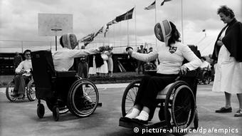 Stoke Mandeville Paralympics - International Sports Festival For The Paralysed (L-R) 25 year old Kathleen Yates takes on 17 year old Julia Brockwell in the ladies' foils championship 26.07.1957