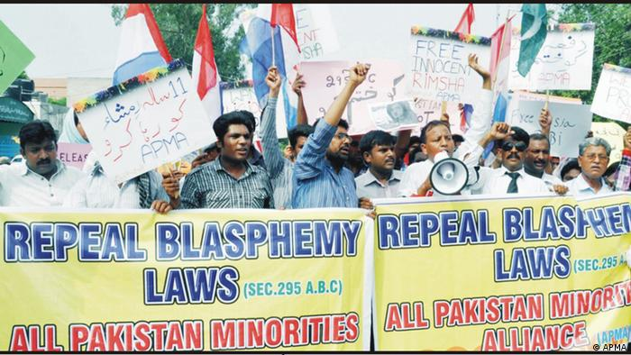 Members of the All Pakistan Minorities Alliance (APMA) protest against the country's blasphemy laws in a march also dedicated to Masih