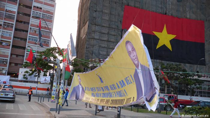 Flags and a banner ahead of the election
