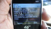 M-Pesa Telefondisplay
