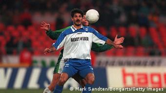 Ali Daei, playing for Arminia Bielefeld on 28.02.98. (Photo by Mark Sandten/Bongarts/Getty Images)
