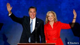 Republican presidential nominee Mitt Romney waves with his wife Ann Romney after she addressed delegates during the second session of the Republican National Convention in Tampa, Florida, August 28, 2012 REUTERS/Mike Segar (UNITED STATES - Tags: POLITICS ELECTIONS)