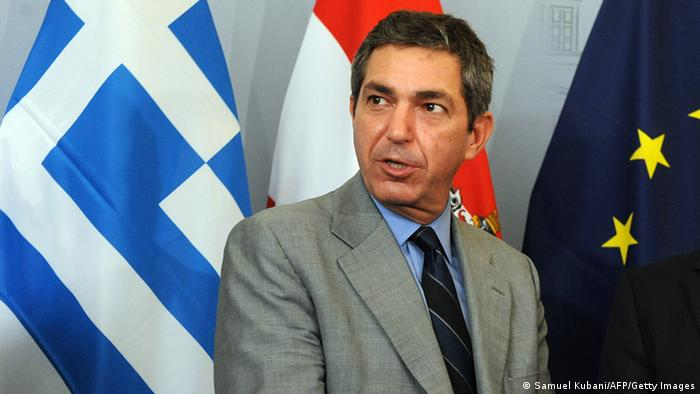 Greek Foreign Minister Stavros Lambrinidis talks during a press conference with his Austrian counterpart Michael Spindelegger (unseen) following their meeting on July 7, 2011 in Vienna. AFP PHOTO/SAMUEL KUBANI (Photo credit should read SAMUEL KUBANI/AFP/Getty Images)