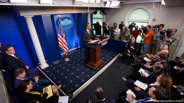 US President Barack Obama holds a surprise press conference in in the Brady Press Briefing of the White Office in Washington, DC, USA, 20 August 2012.