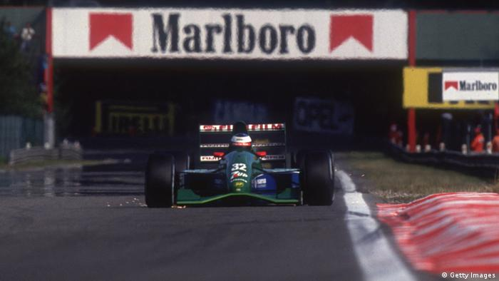25 Aug 1991: Jordan Ford driver Michael Schumacher in action during the Formula One Belgian Grand Prix at Spa-Francorchamps in Belgium. (Photo: Pascal Rondeau /Allsport)