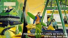 Neo Rauch (*1960) Waldbahn, 2002 © Courtesy: Galerie Eigen + Art, Leipzig und Berlin, VG Bild-Kunst, Bonn 2005 Sammlung Scharpff Benutzung des Fotos nur im Zusammenhang mit der Ausstellung Geschichtenerzähler in der Hamburger Kunsthalle vom 10.04.- 21.08.05