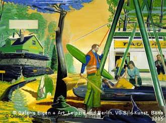 A painting called Waldbahn, in blues and yellows and greens