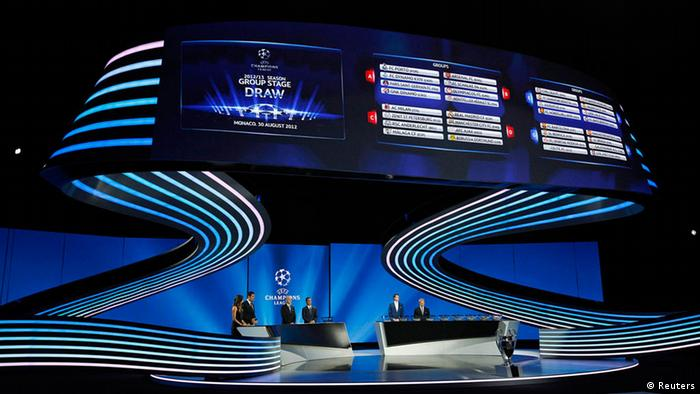 General view during the Champions League draw ceremony at Monaco's Grimaldi Forum in Monte Carlo August 30, 2012.