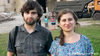 Mischa Amashukeli, left, and Tamar Amashukeli are two Georgians with different views about the resoration at Bagrati.