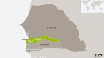 Karte Gambia mit Senegal und Casamance