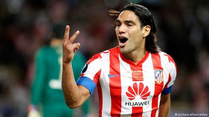 Falcao of Atletico Madrid celebrates after scoring a goal against Chelsea FC during the UEFA Super Cup soccer match.