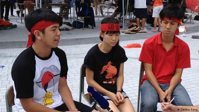 Protestaktion gegen geplante Schulbuch-Reform in Hongkong, 31.08.12; Copyright: DW/Bei Feng