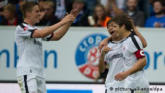 Eintracht Frankfurt Pirmin Schwegler celebrates his goal against Hoffenheim on September 1st, 2012
