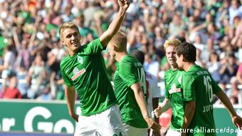 Nils Peterson celebrates his goal against Hamburg on September 1st, 2012