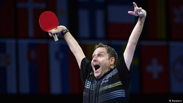 Jochen Wollmert of Germany celebrates after winner the Men's Singles C7 Table Tennis