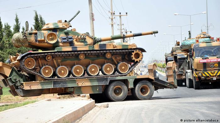 Convoy of Turkish tanks and armoured vehicles