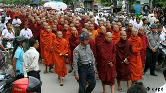 Myanmar Buddhist monks stage a rally to protest against ethnic minority Rohingya Muslims and to support Myanmar President Thein Sein's stance toward the sectarian violence that took place in June between ethnic Rakhine Buddhists and Rohingya Muslims in western Myanmar, in Mandalay, central Myanmar, on Sunday, Sept. 2, 2012. (Photo: AP Photo/Khin Maung Win)