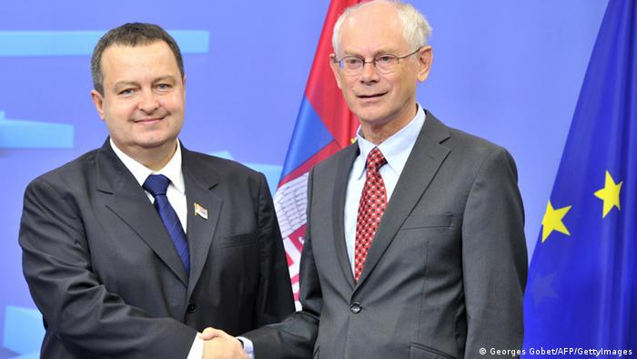 EU Council President Herman Van Rompuy (R) welcomes Serbian Prime Minister Ivica Dacic (L) on September 4, 2012 before their working session at EU headquarters in Brussels.