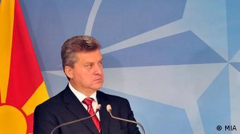 Mazedonien Gorge Ivanov bei der PK mit NATO Anders Fogh Rasmussen in Brüssel