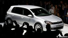 The Volkswagen Golf VI is presented before the launch of a new model in Berlin September 4, 2012. The new model is planned to go on sale across Europe in November, replacing the 2008 sixth-generation model. Volkswagen is hoping a sleek makeover will keep its Golf in the best-selling compact car spot, helping the German automaker overtake Toyota and GM as the world leaders. REUTERS/Fabrizio Bensch (GERMANY - Tags: TRANSPORT BUSINESS)