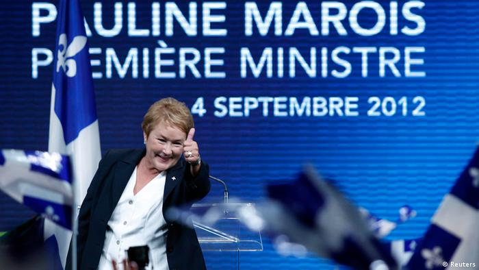 Parti Quebecois leader Pauline Marois addresses party supporters after winning a minority government in the Quebec provincial election in Montreal, Quebec, September 4, 2012. REUTERS/Christinne Muschi (CANADA - Tags: POLITICS ELECTIONS)