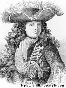 Ein französischer Adeliger trägt einen langen SChal, der wie ein Schlips gedreht ist