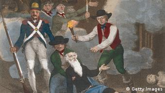 Ein Gemälde von der Französischen Revolution: Ein Soldat und zwei bürgerliche Männer