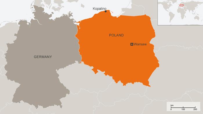 Karte Polen Kopalino Englisch