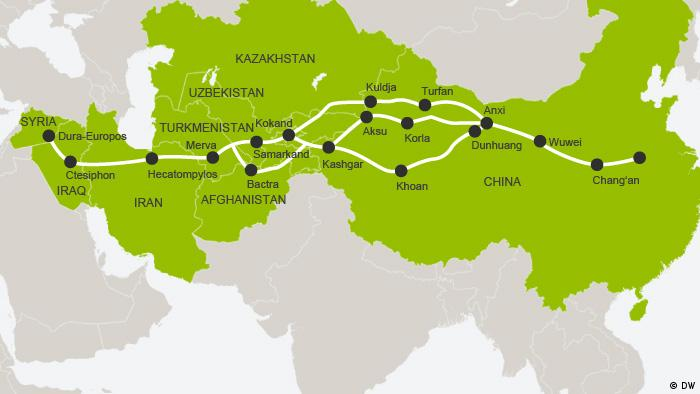 Infographic, Silk Road routes