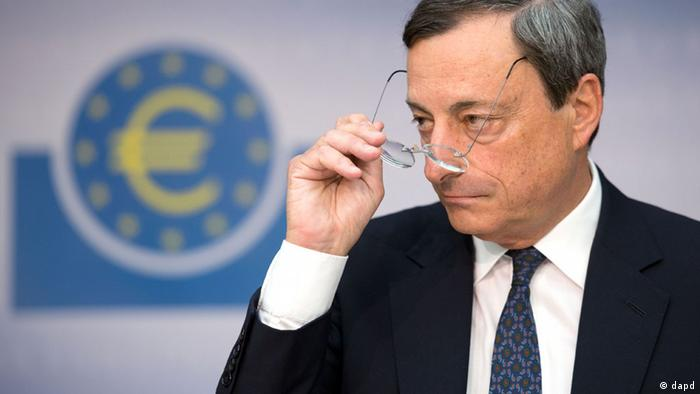 ECB President Mario Draghi, looking thoughtfully at an audience
